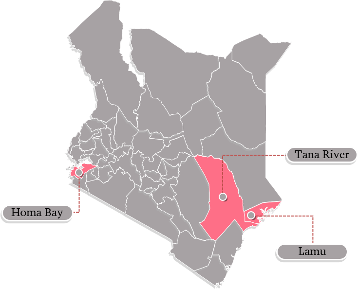 Map of Kenya with Homa Bay, Lamu, and Tana River counties highlighted.